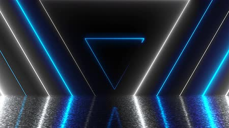 detail : Abstract triangles neon tunnel with reflection, computer generated background, 3D render background