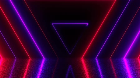 fondness : Abstract triangles neon tunnel with reflection, computer generated background, 3D render background