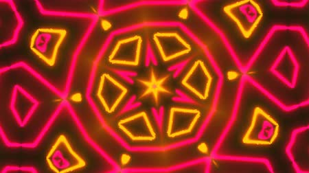 šest : Beautiful abstract symmetry kaleidoscope with shiny neon lines, 3d rendering backdrop, computer generating background Dostupné videozáznamy