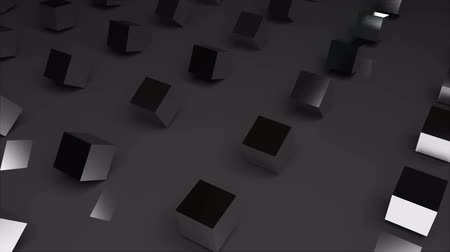 négyszögletes : Rows of abstract cubes on surface, modern computer generated 3D rendering background Stock mozgókép