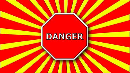 ter cuidado : Danger sign on red and cartoon rays, decoration for creative, 3d rendering background Stock Footage