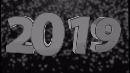 premium : 2019 retro text with old film effect, 3d rendering computer generated background for New year and Christmas holidays