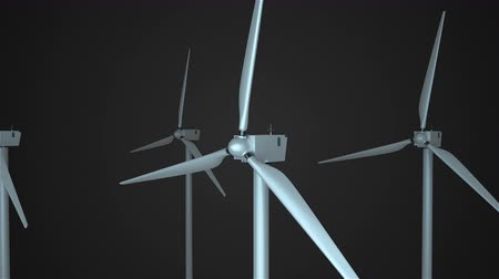 sustainable resources : Rotating windmills in space, 3d rendering background, computer generating for ecology design