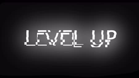 vibration : Letters of Level up text with noise on black, 3d rendering background, computer generating for gaming Stock Footage