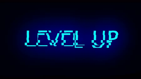 tur : Letters of Level up text with noise on black, 3d rendering background, computer generating for gaming Stok Video