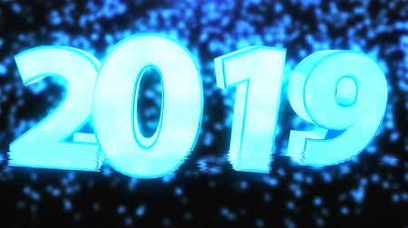 штифт : 2019 bright text with hologram effect, 3d rendering computer generated background for New year and Christmas holidays