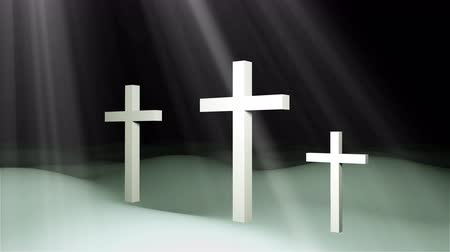 crucified : Three christian crosses are on ground and sun rays, resurrection Easter conceptual art, 3d rendering backdrop