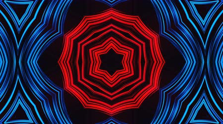yaymak : Beautiful abstract symmetry kaleidoscope with shiny neon lines, 3d rendering backdrop, computer generating background Stok Video