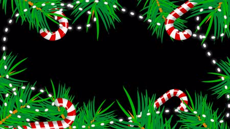 decoratie rand : Christmas border with green fir branches, shiny garland, candies, 3d rendering backdrop, computer generated background
