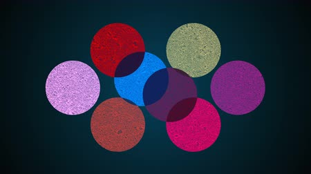 mistura : Multiple shape circles, mixing of different colors, searchlight effect, 3d rendering background, computer generated backdrop Stock Footage