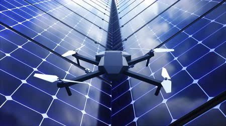 propeller toy : Modern shiny quadcopter among solar panels, 3d rendering background for technology, science showing, computer generated Stock Footage