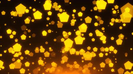 polygone : Many gold glittering pentagones are in space, holiday 3d rendering background, golden explosion of confetti