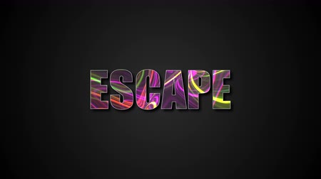 kijárat : Letters of bright shiny Escape text with plasma effect, 3d rendering background, computer generating for gaming Stock mozgókép