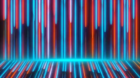 vertical : Bright colored neon beams are on wall and floor, modern neon technology, 3d rendering computer generated background