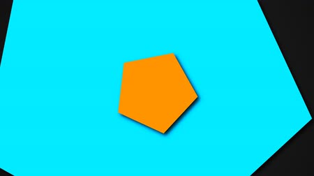pentágono : Flat geometric shapes - colored pentagons with shadows in space, 3d rendering, computer generated background