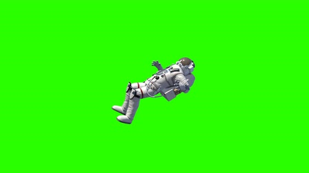 重力 : Astronaut in white modern scaphandre go in the space, 3d rendering background, computer generated backdrop