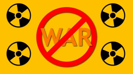 proibir : Text War behind prohibition sign and four radioactive sign, danger and safety background, 3d rendering backdrop Vídeos