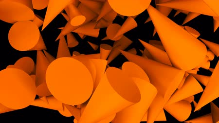 basic shape : Many 3d cones are in the dark space, modern abstraction with simple shapes, computer rendering background Stock Footage