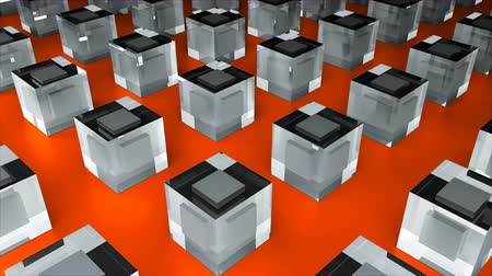 冷蔵する : Many glass cubes or ice cubes are on flat surface, 3d rendering background, computer generated industrial backdrop