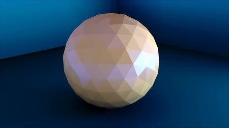 köşeler : Low poly sphere is in the corner, simple shape, 3d rendering computer generated modern background