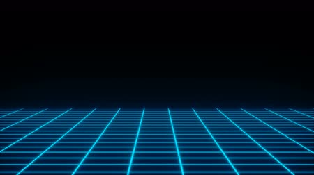 плакат : Retro neon simple grid in the dark space, flat surface, 3d rendering computer generated backdrop