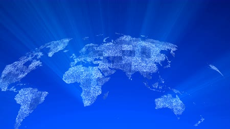 pontos : Global technology world map, globe worldmap icon, 3d rendering backgroung Vídeos