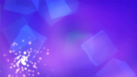 blurring : Blue cubis abstraction in the clear space with shiny particles, light and easy background, 3d rendering backdrop