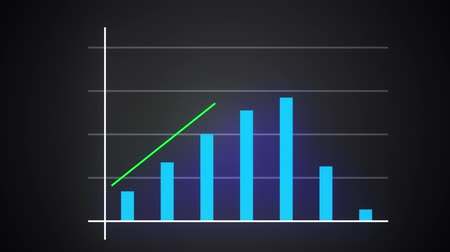Growing bar graph with rising arrow, financial forecast graph, 3d render computer generated background