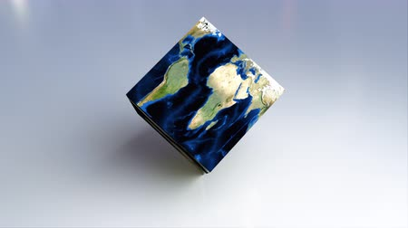 zvětšit : Abstract Earth square globe is on the surface, 3d rendering computer generated background