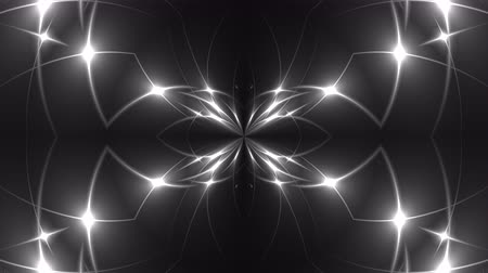 kibertérben : Abstract symmetry kaleidoscope - fractal lights, 3d rendering backdrop, computer generating background Stock mozgókép