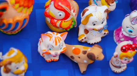 paroh : porcelain toys lie on the table during the holiday