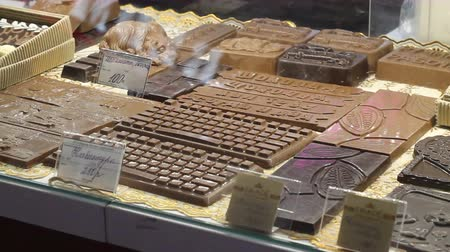 grated : Sale of chocolate on the table in the holiday.