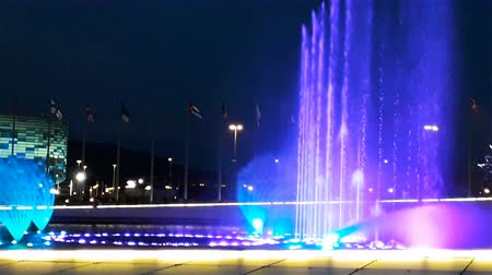 sochi : Beautiful bright fountain with illumination and flags at summer dark night, Sochi, Russia