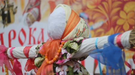 escalera : Close-Up Straw Effigy Of Dummy Of Maslenitsa, Symbol Of Winter Russian Stock Footage
