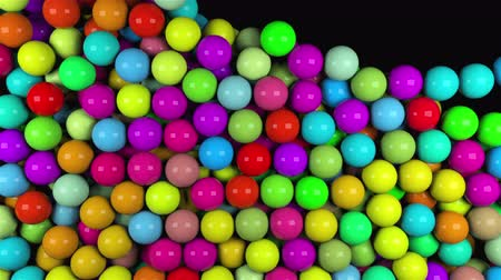 bens : Many abstract colorful glossy balls fall, 3d rendering computer generated background Stock Footage