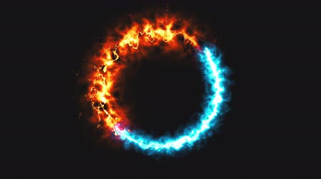 opposite : Bright dymanic fire and ice ring in space, this is opposite symbol, 3d rendering, computer generated background