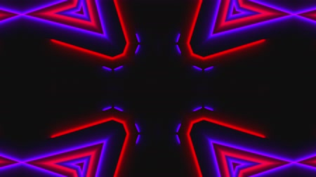 seis : Beautiful abstract symmetry kaleidoscope with shiny neon lines, 3d rendering backdrop, computer generating background Vídeos