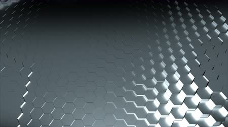 хром : Wavy texture of shiny silver hexagons. Computer generated modern background, 3d rendering