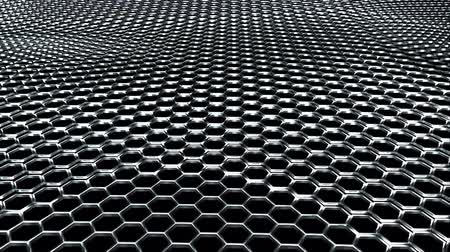 хром : Wavy metal surface made of shiny silver hexagons. Computer generated modern background, 3D rendering. Стоковые видеозаписи