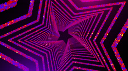 átomo : Star shaped tunnel with many glowing circular particles in space, computer generated abstract background, 3D rendering