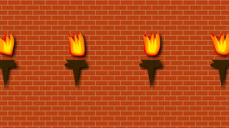 tartó : Brick red wall with burning bright torches in cartoon style, 3d rendering background, computer generated