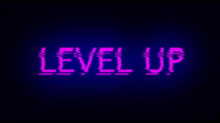 hurry up : Letters of Level up text with noise on black, 3d rendering background, computer generating for gaming Stock Footage