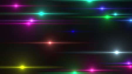 változatos : Animation of horizontal multi colored lights flash randomly on a black background. Computer generated background 3d rendering