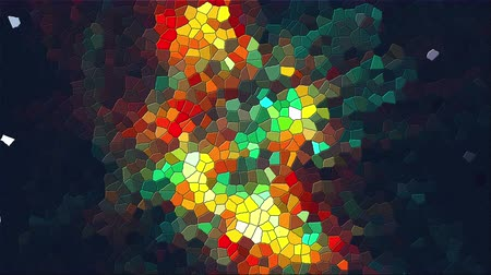 stopmotion : Computer generated abstract background of multicolor mosaic of various shapes, 3d rendering