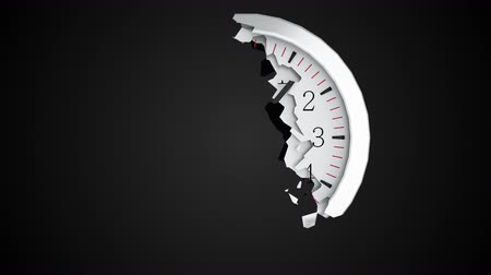 quebra : The round dial of a wall clock collapses into small fragments on a black background. Computer generated abstract background, 3d rendering Stock Footage