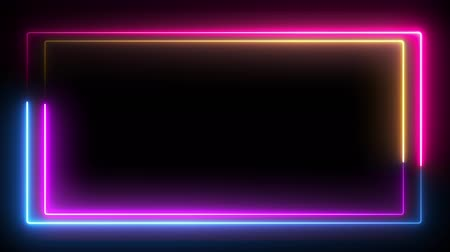 négyszögletes : Computer generated color animation. 3D rendering neon frame of blue and pink colors on a black background