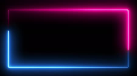 obdélníkový : Computer generated color animation. 3D rendering neon frame of blue and pink colors on a black background