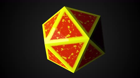 origens : Computer generated icosahedron, 3d rendering of platonic with yellow edges and an orange center on a black background Vídeos