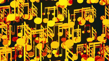 jazz festival : Computer generated 3D rendering. Cluster of many gold musical notes on a black background.