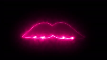 wąsy : Computer generated abstract background with neon light draws a mustache shape. 3D rendering mustache icon of luminous shiny lines